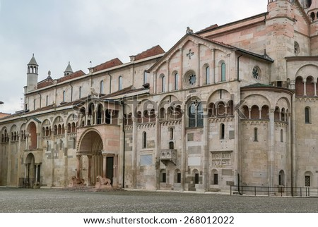 Modena Cathedral is a Roman Catholic Romanesque church in Modena, Italy. Consecrated in 1184, it is an important Romanesque building in Europe and a World Heritage Site. - stock photo