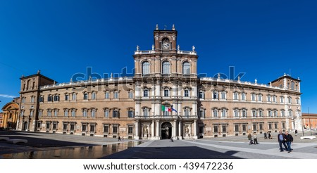 MODENA, ITALY - APRIL 27 2016: Ducal Palace of Modena was the residence of the Este Dukes of Modena between 1452 and 1859. It currently houses the Italian Military Academy.