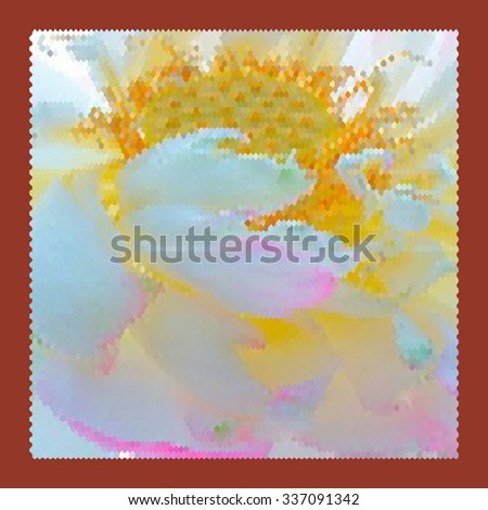 Modern abstract art bright blots and splashes in red frame - stock photo