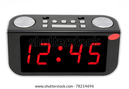 Modern abstract compact digital electronic clock mass production.Isolated with set and display patches - stock photo