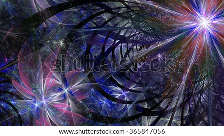 Modern abstract flower and star-like space wallpaper/background with a detailed decorative pattern made out of arches, all in glowing pink,purple
