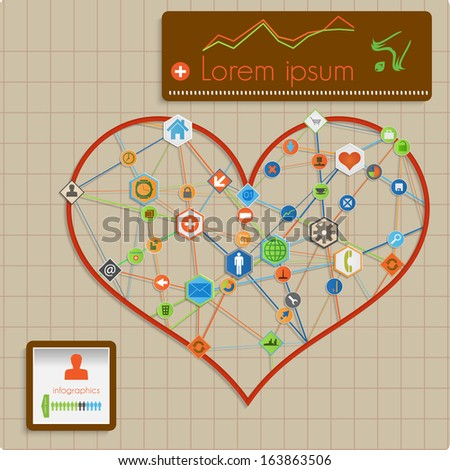 Modern  abstract info graphic design - heart lines template. Raster version. - stock photo