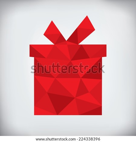 Modern abstract style - origami paper christmas gift design  - stock photo