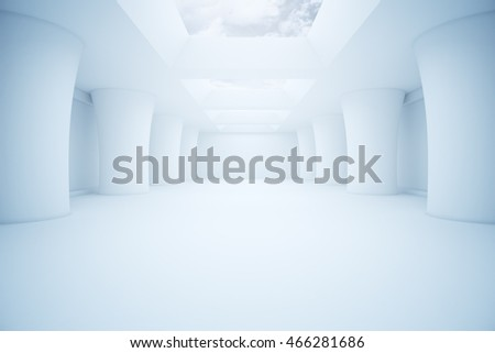 Modern abstract white parking interior design with sky view and daylight. 3D Rendering