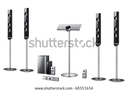 Modern acoustic systems isolated on the white - stock photo