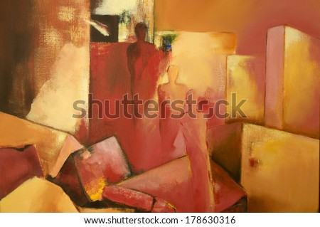 Modern acrylic painting with three abstract human figures - stock photo