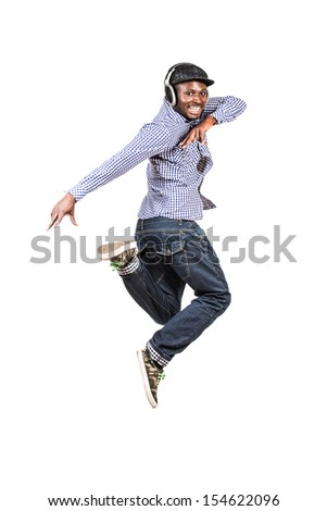 Modern african american young man dancing at studio. Isolated over white. - stock photo