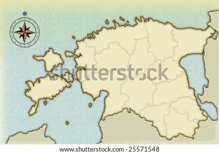 Modern age-old map of Estonia - stock photo