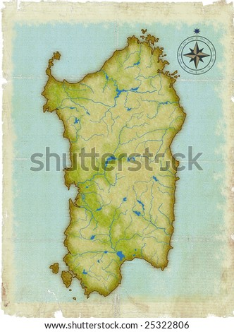 Modern age-old map of Sardinia - stock photo