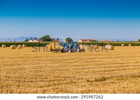 Modern agriculture - after the wheat harvest, the hay round bales are assembled by tractors with forks to be loaded on trucks - stock photo