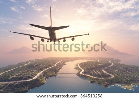 Modern aircraft flies over the island. - stock photo