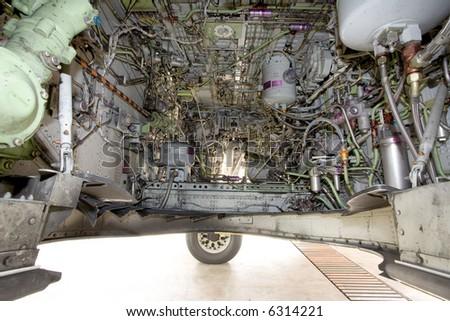 modern aircraft wheel mechanism - stock photo