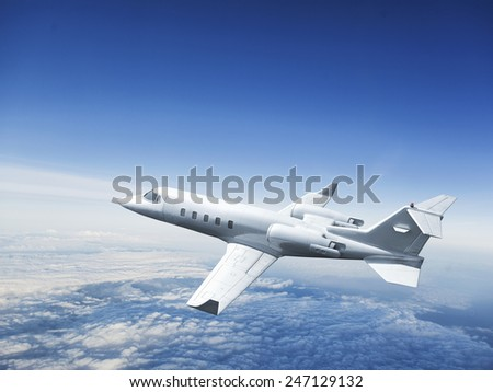 Modern Airplane flying in the sky. - stock photo