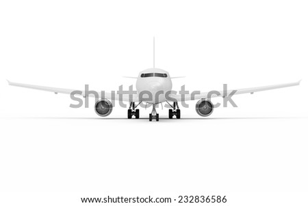 Modern Airplane isolated on white background. Passenger Airplane of My Own Design. Front View - stock photo