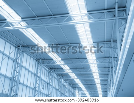 Modern airport roof in blue color tone - stock photo