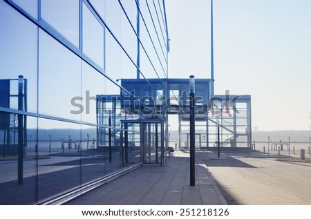 modern airport terminal,industrial architecture - stock photo