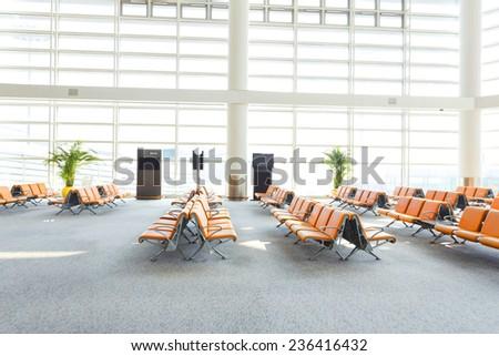 modern airport waiting hall interior - stock photo