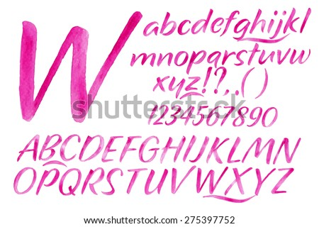 Modern alphabet set drawn watercolor blots and stains with a spray pink color. - stock photo