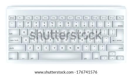 Modern aluminum computer keyboard isolated - stock photo