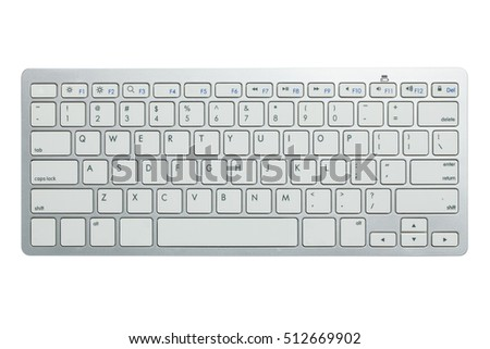 Modern aluminum computer keyboard isolated on white background