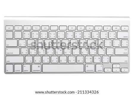 modern aluminum computer keyboard thai language isolated on white background with clipping path - stock photo