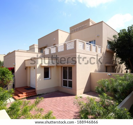 modern and beautiful house in european style - stock photo