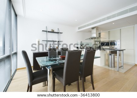 Modern and bright dining area and kitchen