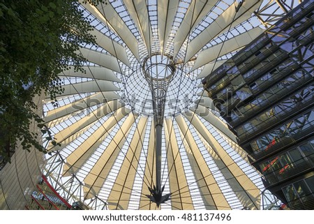 Modern and futuristic Sony Center in Berlin - BERLIN / GERMANY - AUGUST 31, 2016
