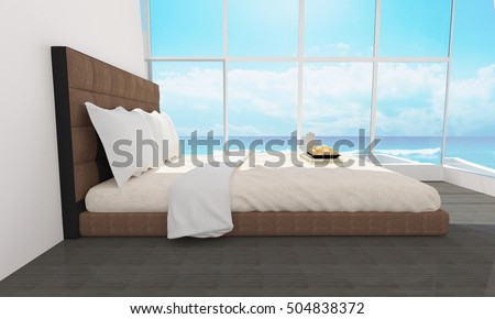 Modern and loft bedroom interior with sea view  for vacation and summer-3d rendering