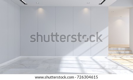 Modern And Minimalist Interior Marble Flooring Blue Wall Empty Room 3d Rendering