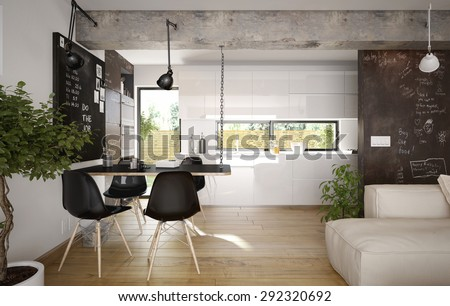 Modern and retro dining room and kitchen interior (3 d render using 3 d s max) - stock photo