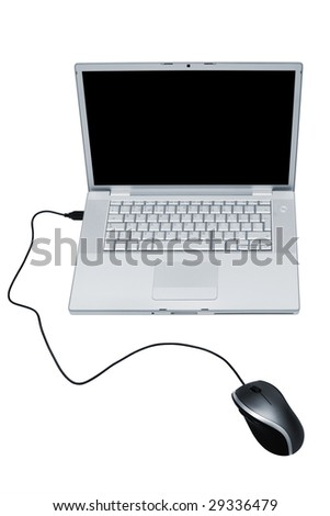 Modern and stylish laptop on a white background - stock photo