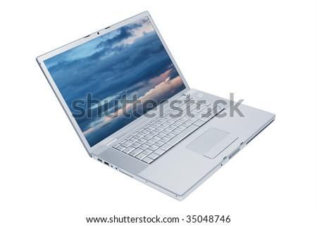 Modern and stylish laptop on a white background - stock photo