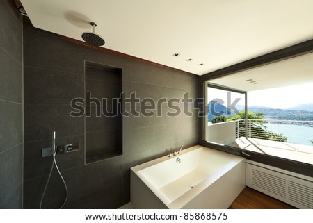 Modern apartment, bath with panoramic view