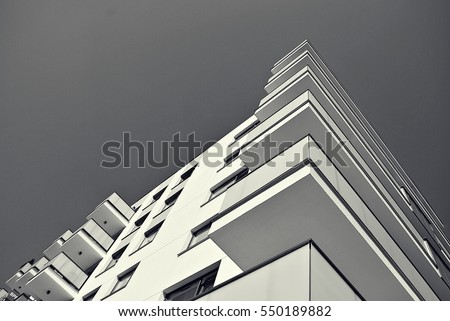 Modern Apartment Building Black And White