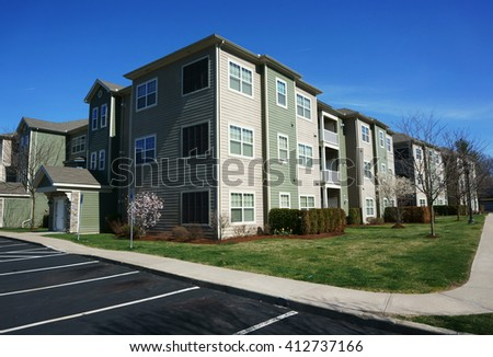 modern apartment building exterior and surrounding environment           - stock photo