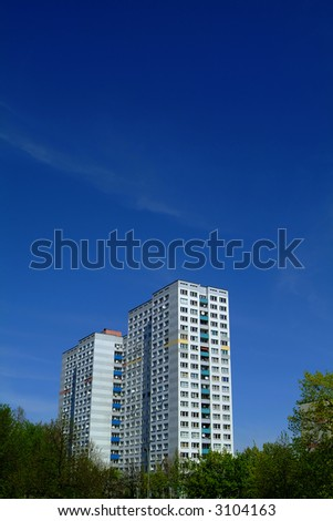 modern apartment building in east berlin - stock photo