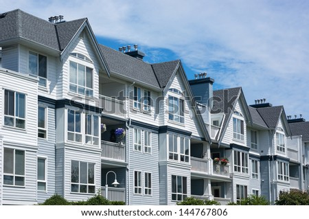 Modern apartment building in Richmond, British Columbia, Canada. - stock photo