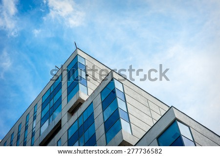 Modern apartment building in the city Lviv - stock photo