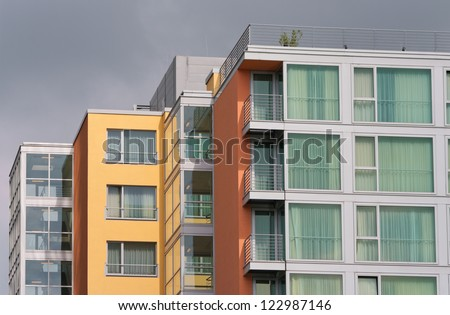 modern apartment buildings in the Media harbor of Dusseldorf, Germany - stock photo