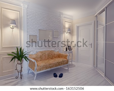 modern apartment hall interior (3D rendering) - stock photo