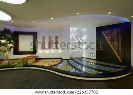 Modern apartment: Interior lighting design - stock photo