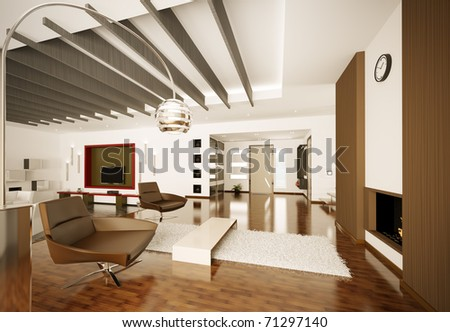 Modern apartment interior living room hall 3d render - stock photo