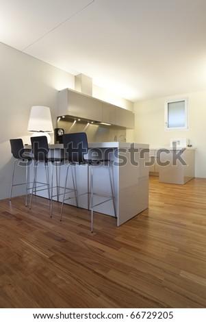 modern apartment interior view, open kitchen - stock photo