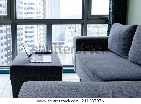 Modern apartment interior. Work at home. - stock photo