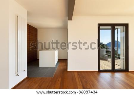 Modern apartment, large room, interior - stock photo