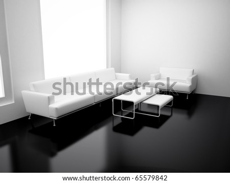 Modern apartment with living room. High resolution image. 3d render. - stock photo