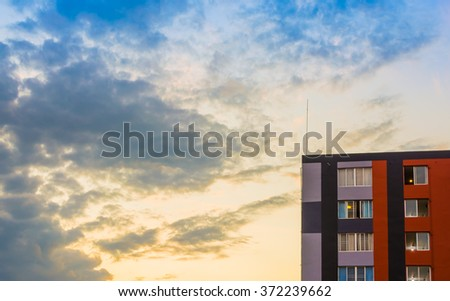 Modern apartments (condo) on evening time for background usage. - stock photo