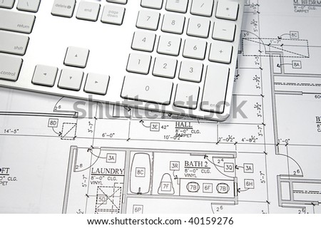 Modern architects office blueprint computer keyboard stock photo modern architects office with blueprint and computer keyboard malvernweather Choice Image