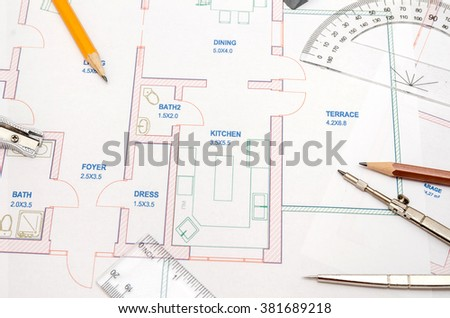 Modern Architectural Plan Pencil Ruler Compass Stock Photo 381689218